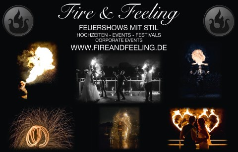 Feuershow Fire and Feeling, Showkünstler · Kinder Nürnberg, Logo